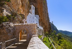 Ostrog monastery - Montenegro - architecture travel background