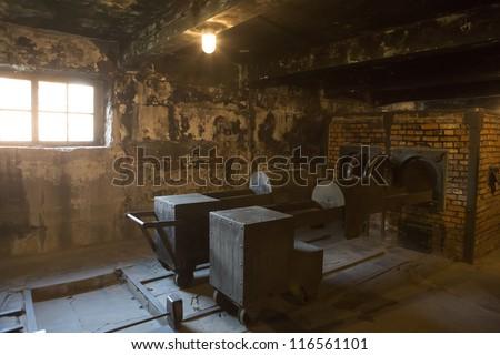 OSWIECIM, POLAND - OCTOBER 22: The crematorium in Auschwitz I, a former Nazi extermination camp on October 22, 2012 in Oswiecim, Poland. It was the biggest nazi concentration camp in Europe.