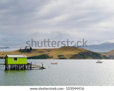 Otago peninsula coastal landscape scenery with green boat shed in sheltered water, Otago, South Island near Dunedin, New Zealand