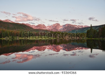 Otis, Hallett and Flattop Mountains seen from Sprague Lake in Rocky Mountain National Park in northern Colorado