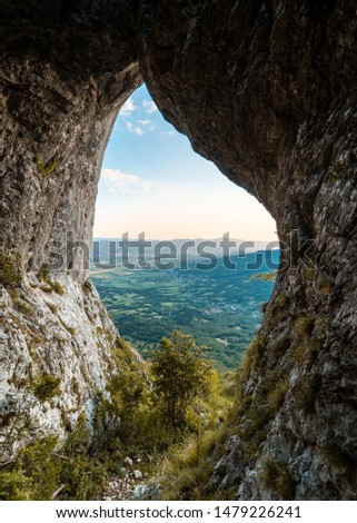 Otlica natural window with a view to Vipava valley Zdjęcia stock ©