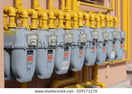 OTTAWA, CANADA - AUGUST 6: Several Enbridge natural gas meters on the side of a retail complex on August 6, 2012 in Ottawa, Ontario. Enbridge is Canadas largest natural gas distribution company.