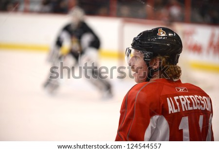 OTTAWA, CANADA - JAN 13:  Captain Daniel Alfredsson of the Ottawa Senators returns to the ice for their first practice of training camp after the NHL lockout was ended.  Jan 13, 2013 Ottawa, Canada.