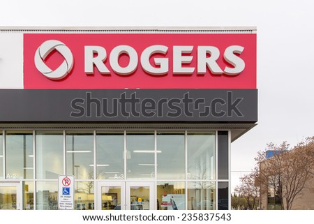 OTTAWA, CANADA NOVEMBER 11, 2014: A Rogers store. Rogers is a communications and media company which provides wireless communications to 9 million Canadians and 1.8 million households in Canada.