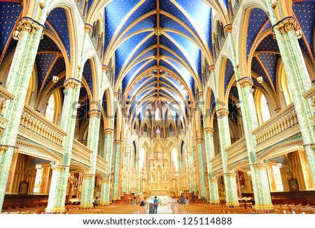 OTTAWA, CANADA - SEP 8: Notre-Dame Cathedral Basilica interior on September 8, 2012 in Ottawa, Canada. It is the oldest largest in Ottawa and was designated a National Historic Site of Canada in 1990