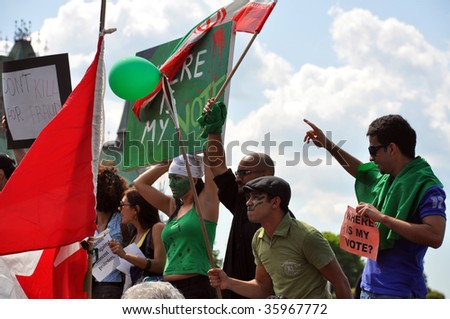 OTTAWA - JUNE 16:  Iranians in Canada gather in front of the Parliament Buildings to protest the results of the election that took place in Iran June 12, 2009 in Ottawa, Canada.