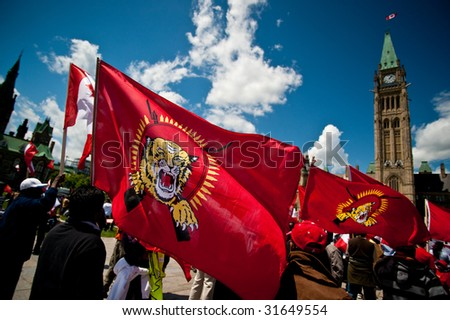 OTTAWA - JUNE 3: Protesters gather at Parliament Hill in Ottawa to demand that the Canadian government take action regarding the ongoing conflict between Sri Lanka and Tamil forces on June 3, 2009.