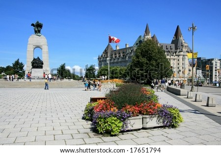 OTTAWA, ON - AUGUST 16: Confederation Square with the National War Memorial and the Fairmont Chateau Laurier Hotel on August 16, 2008 in Ottawa, Ontario, Canada.