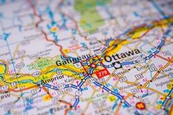 Ottawa on Canada travel map