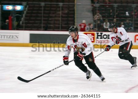 OTTAWA, ON - MAR 7: Ottawa Senators players Ryan Shannon and Jason Spezza during a public hockey practice at Scotiabank Place March 7, 2009 in Ottawa, ON.