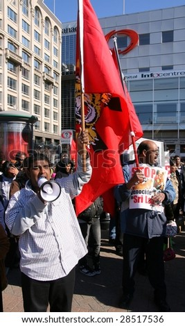 OTTAWA, ONTARIO - APRIL 13: Tamil supporters demonstrate April 13, 2009 in Ottawa, Ontario. The protesters demand to end attacks against Tamil citizens in Sri Lanka.