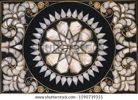 Photo of  Ottoman art example of Mother of Pearl inlays from Istanbul