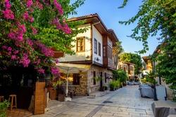 Ottoman houses on the main pedestrian street in Antalya Old Town Kaleici district, Turkey