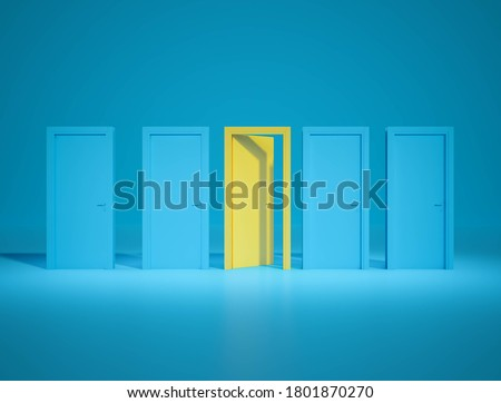 Otustanding yellow door open between closed blue dor on blue background.minimall concept.3d rendering. Stockfoto ©