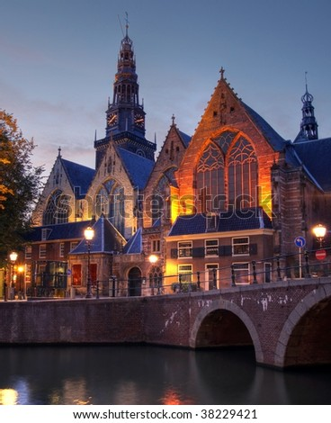 Oude Kerk at twilight in Amsterdam, The Netherlands