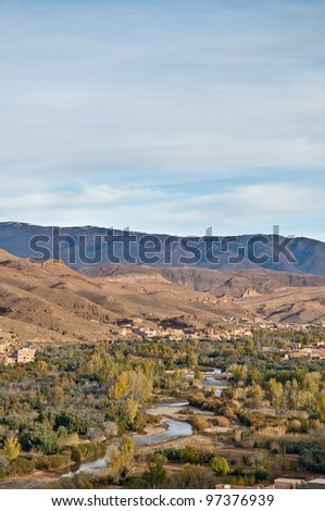 Oued River along Boulmalne Dades valley and High Atlas Mountains at Morocco