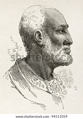 Ouelda Ghiorghis old engraved portrait, notable Abyssinian. Created by Bayard after Lejean, published on Le Tour du Monde, Paris, 1867