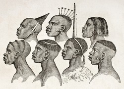 Ounyanyembe people hairstyles old illustration (Tanzania). By unidentified author, published on Le Tour du Monde, Paris, 1860.