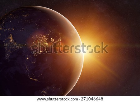 Our earth in cosmos and bright sun. Elements of this image furnished by NASA #271046648