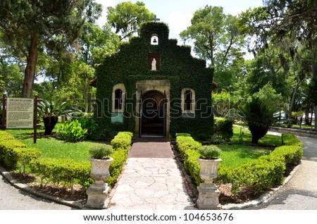 Our Lady of la Leche mssion chapel of Nombre de Dios at historic St. Augustine, Florida, USA.