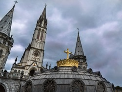 Our Lady of Lourdes Basilica in Lourdes, France.