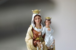 Our Lady of Mt. Carmel Virgin Mary and Child Jesus catholic statue