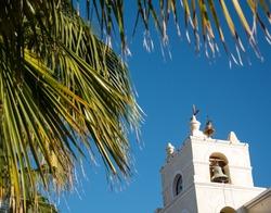 Our Lady of Pilar Church Top close up ,Todos Santos Mexican town