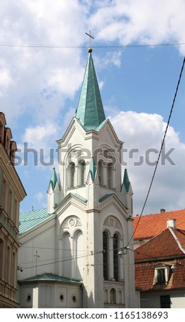 Our Lady of Sorrows Church  in the old center of Riga, Latvia. Roman Catholic church.
