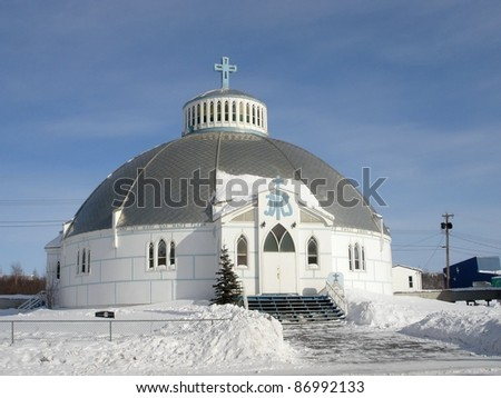 Our Lady of Victory, Igloo Church, Inuvik, Northwest Territories in the Canadian Arctic.