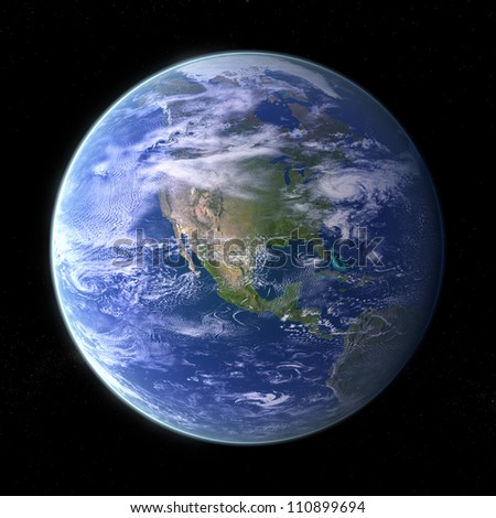 Our own Planet Earth on black background