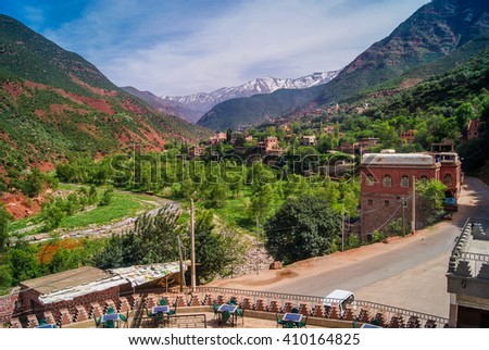 Ourika Valley Morocco. / Nice touristic day trip from Marrakesh to this unspoiled beautiful nature in Ourika Valley, suburb of Marrakesh. In background is mountain Atlas.