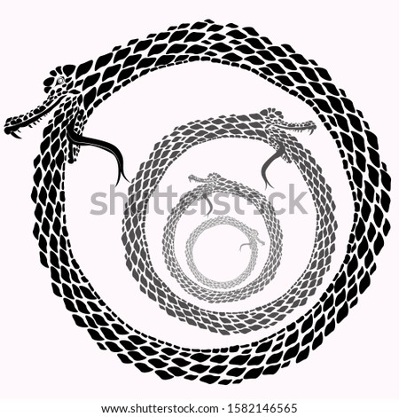 Ouroboros endless loop. The snake eats its tail endlessly.