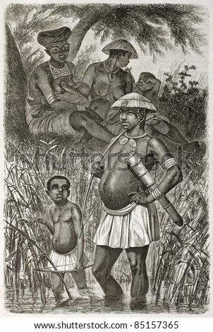 Ousumboua people old illustration, eastern Africa. Created by Boulanger and Gauchard, published on Le Tour du Monde, Paris, 1860.
