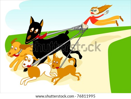 Out of control: young dog sitter walking the dogs, flying pulled by four running dogs in a park - funny cartoon; concepts: inexperience, chaos, lack of authority or leadership, etc.