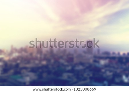 out of focus city and dramatic skyscape blurred background #1025008669