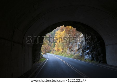 Out of the tunnel and into fall foliage.