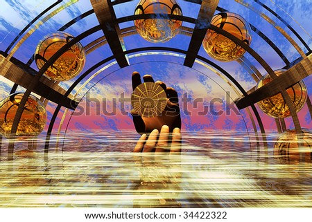 Out of turbulent water a hand rises holding a round gold object, under a transparent metal arch, where balls travel like atoms, Illustration