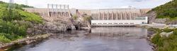 Outardes River Hydro Dam electric power station panorama, Manicouagan, Quebec, Canada