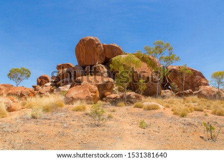 Outback Australia, Northern Territory natural rock formations named Devils Marbles #1531381640