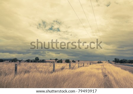 outback landscape with dramatic clouds