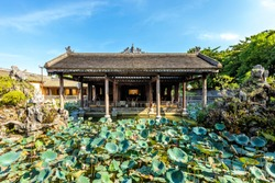Outbuildings of  of Dien Tho palace  in Hue citadel. Imperial Royal Palace of Nguyen dynasty in Hue, Vietnam. A Unesco World Heritage Site