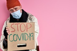 outcast senior man want coronavirus to be stopped, want to be normal, need shelter and job