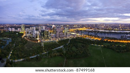 Outdated panorama of the skyline of Donau City Vienna at the danube river without the new DC-Tower opened February 2014. For updated image see file 221051470