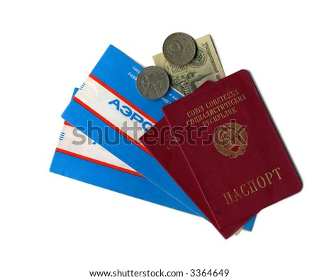 Outdated Soviet era passports and plane tickets with a few rubles