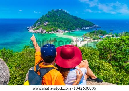 Outdoor adventure couple traveler on top island joy fun beautiful nature scenic landscape vacation beach Koh Nang Yuan Famous landmark tourist travel Thailand summer holiday, Tourism destinations Asia