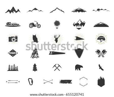 Outdoor adventure silhouette icons set. Climb and camping shapes collection. Simple black pictograms bundle. Use for creating logo, labels and other hiking, surf designs. isolated on white