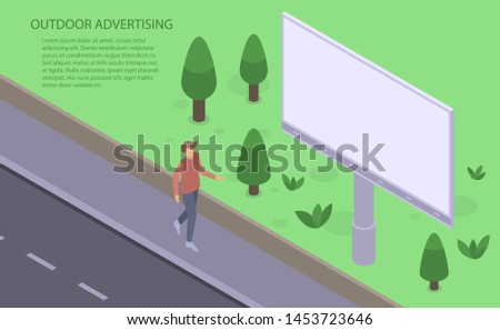 Outdoor advertising banner. Isometric illustration of outdoor advertising banner for web design