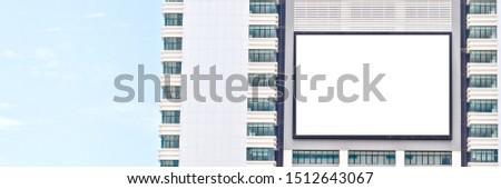 Outdoor advertising. blank advertising billboard at skywalk on building #1512643067