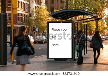 Outdoor advertising bus shelter