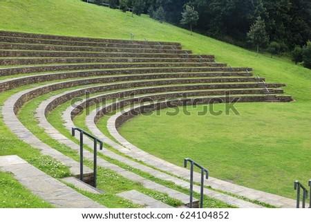 Outdoor amphitheatre in Sheffield's South Street Park, UK.